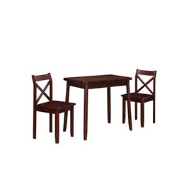 Linon Dover 3 Piece Dining Set in Rich Walnut