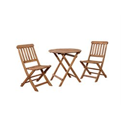 Linon Catalan 3 Piece Patio Bistro Set in Teak