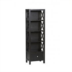 Tall Narrow 5 Shelf Bookcase in Antique Black