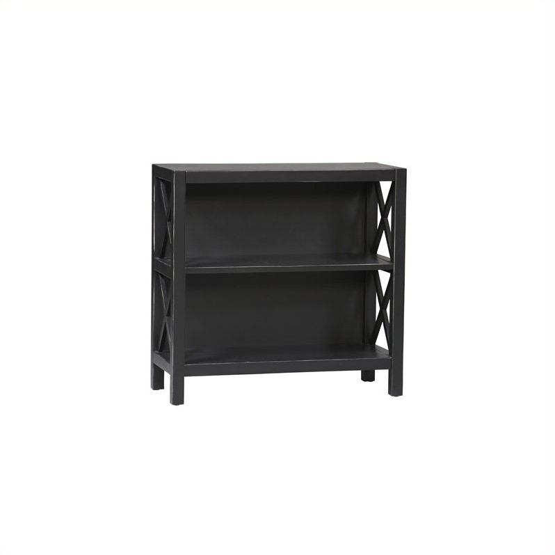 2 Shelf Bookcase in Distressed Antique Black