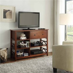 Linon Titian Tall TV Stand in Antique Tobacco