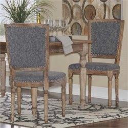 Linon Nottingham Square Back Dining Side Chair in Charcoal (Set of 2)