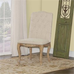 Linon Portsmouth Square Back Dining Side Chair in Linen (Set of 2)