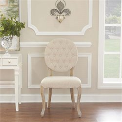 Linon Bradford Oval Back Dining Side Chair in Linen (Set of 2)