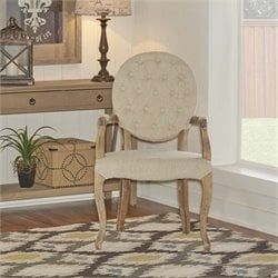 Linon Exeter Dining Arm Chair in Linen