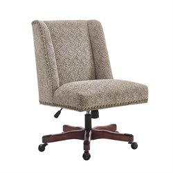 Linon Draper Swivel Fabric Upholstered Office Chair in Brown