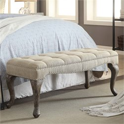 Loire Cabriolet Linen Nailhead Bedroom Bench