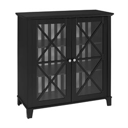 Linon Rapture Awning Stripe Large Accent Cabinet in Black