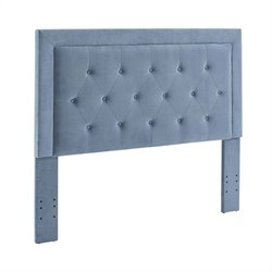 Linon Clayton Ocean Fabric Upholstered Full Queen Headboard in Blue
