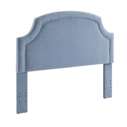 Linon Regency Ocean Fabric Upholstered Full Queen Headboard in Blue
