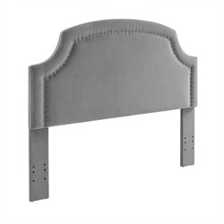 Regency Dove Fabric Upholstered Full Queen Headboard in Gray