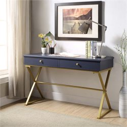 Linon Campaign Writing Desk in Blue and Gold