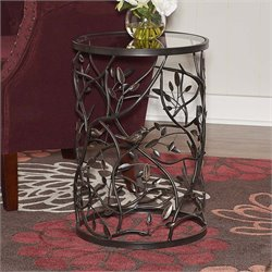 Linon Bird and Branch Round Glass Top Accent Table in Brown