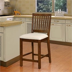Barrett Slat Back Bar Stool in Beige and Walnut