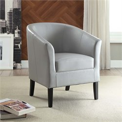 Linon Simon Faux Leather Club Chair in Light Gray