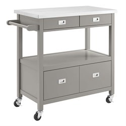 Linon Sydney Stainless Steel Top Kitchen Cart in Gray