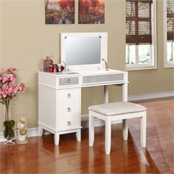 Linon Eva 2 Piece Vanity Set in White