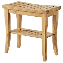 Linon Bracken Bamboo Bathroom Stool in Natural