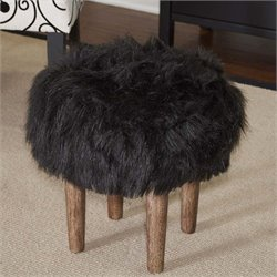 Linon Samarina Faux Flokati Stool in Black