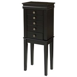 Linon Hailey Jewelry Armoire in Black