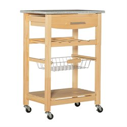 Granite Top Kitchen Cart in Natural Finish