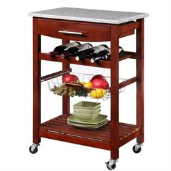 Granite Top Kitchen Cart in Wenge Finish