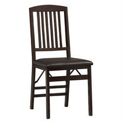Back Vinyl Dining Chair in Espresso Finish (Set of 2)