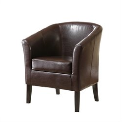 Linon Simon Faux Leather Barrel Club Chair in Brown