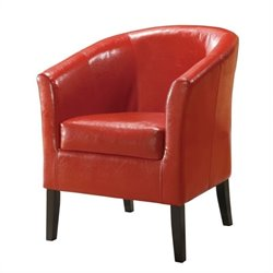 Faux Leather Club Chair in Red