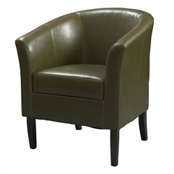Linon Simon Faux Leather Club Chair in Cedar