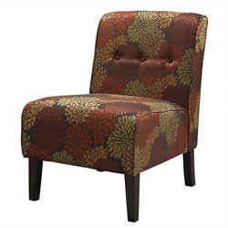 Fabric Tufted Accent Slipper Chair in Harvest