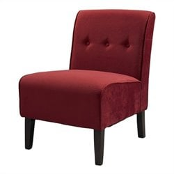 Linon Coco Accent Fabric Tuffed Chair in Walnut