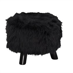 16 Inch Wide Foot Stool in Black