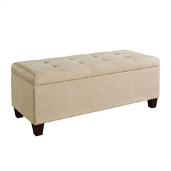 Upholstered Microfiber Shoe Storage Ottoman in Beige
