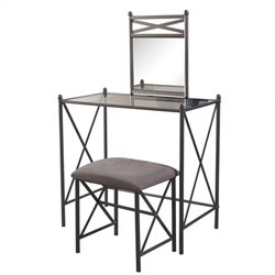 Metal Vanity Set with Glass Top