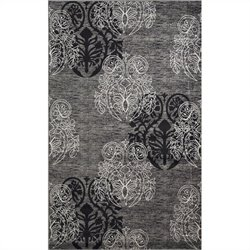 Rugs Rectangular Area Rug in Grey and Black