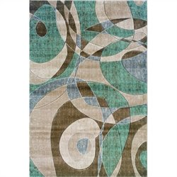 Rugs Rectangular Area Rug in Brown and Turquoise