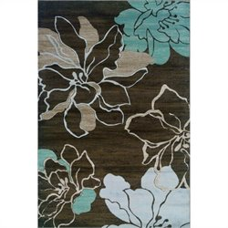 Rugs Flower Rectangular Area Rug in Brown and Turquoise