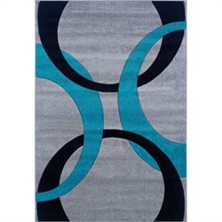 Rugs Kids Area Rug in Grey and Turquoise