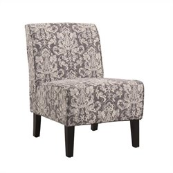 Accent Fabric Slipper Chair in Gray Floral Pattern