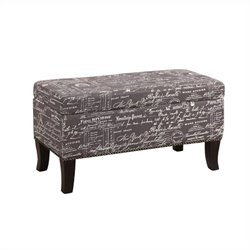 Ottoman in Gray Linen with Script