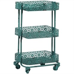 Metal Three Tier Cart in Turquoise