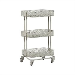 Metal Three Tier Cart in Cream