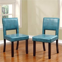 Linon Vega Dining Chairs in Blue (Set of 2)