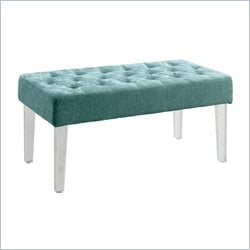 Linon Ella Acrylic Leg Teal Bench in Clear