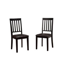 Linon Cayman Mission Back Dining Chair in Black (Set of 2)