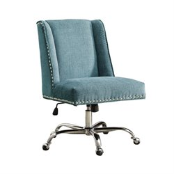 Armless Upholstered Office Chair in Aqua