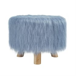 Faux Fur Stool in Dusty Blue