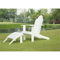 Adirondack Chair and Ottoman in White