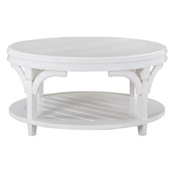 Magnussen Boathouse Round Coffee Table in Warm Weathered White